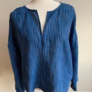 Lou & Grey Top vneck blue white stripes NEW sz L